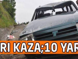 Trabzon'da meydana gelen 2 ayrı trafik kazasında 10 kişi yaralandı