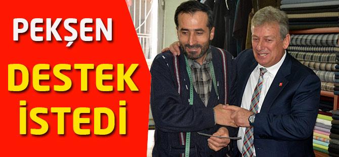 Haluk Pekşen, Akçaabat'ta esnaf ziyaretinde bulundu.