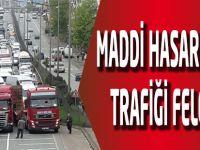 Yaylacık mahallesinde meydana gelen maddi hasarlı kaza trafiği felç etti.