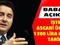 Babacan Asgari Ücretin Tarihini Açıkladı