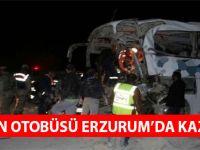 Trabzon Otobüsü Erzurum'da Kaza Yaptı