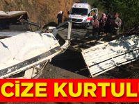 Akçaköy'deki kazada mucize kurtuluş