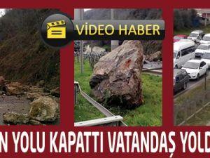Heyelan Akçaabat Trabzon Yolunu Kapattı