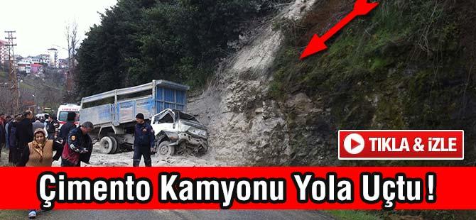Akçaabat'ta çimento yüklü kamyon devrildi: 3 yaralı