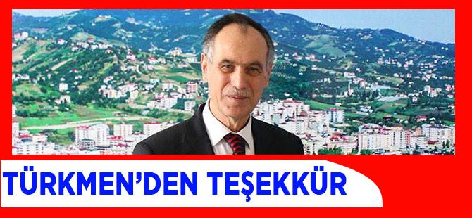Türkmen'den Teşekkür Mesajı