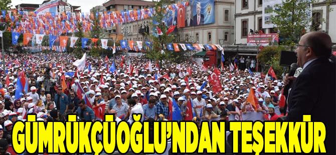 Gümrükçüoğlu'ndan hemşehrilerine miting teşekkür etti