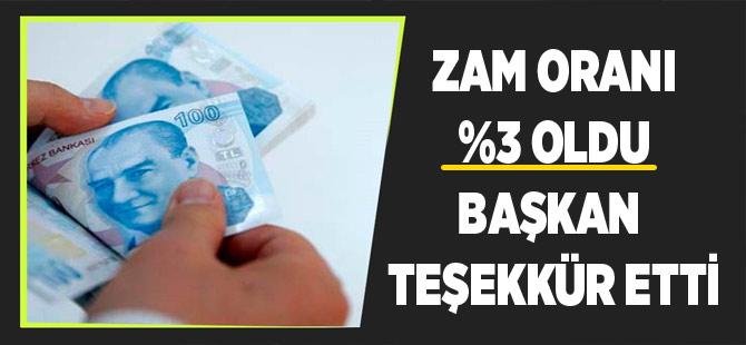 Belediye Zam Oranını %3 Yaptı. Başkan Teşekkür Etti.