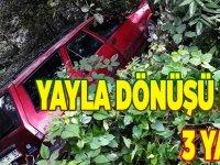 Yayla Dönüşü Kaza 3 Yaralı