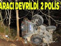 Polis Aracı Devrildi, 2 Yaralı