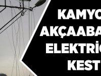 Kamyon Akçaabat'ın Elektriğini Kesti