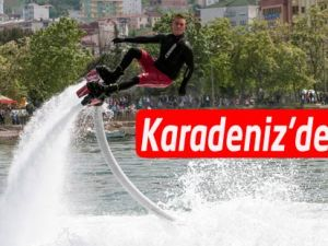 Akçaabat'ta Flyboard gösterisi